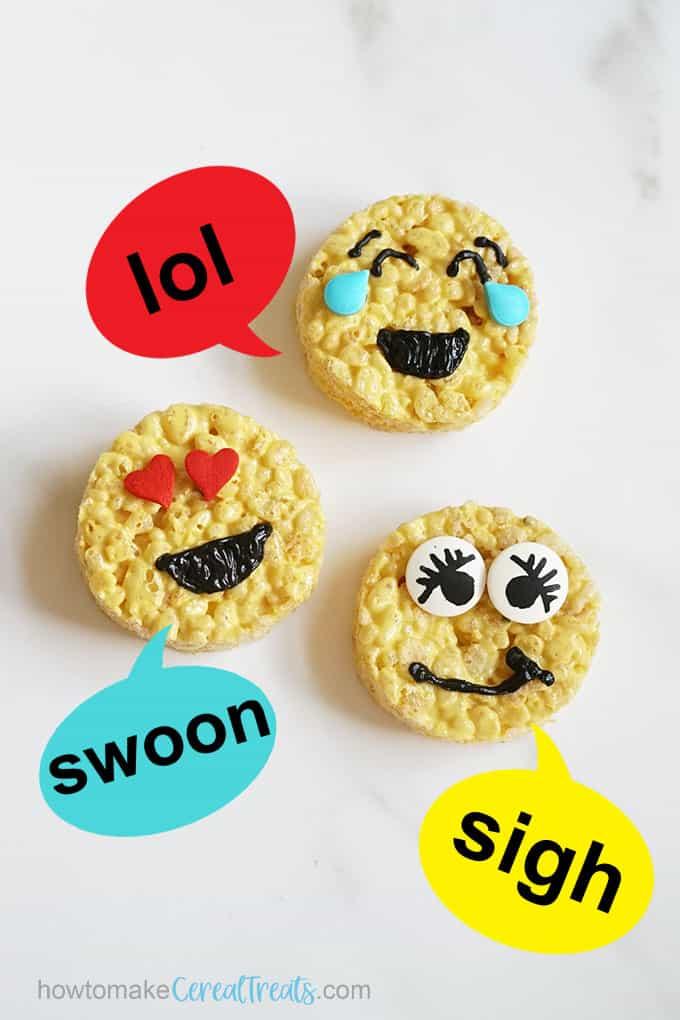 emoji rice krispie treats with speech bubbles