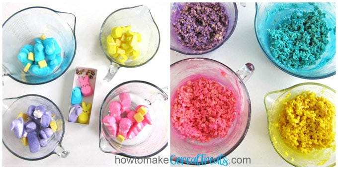 Melt Peeps and butter then stir in Rice Krispies Cereal to make colorful Rice Krispie Treats.