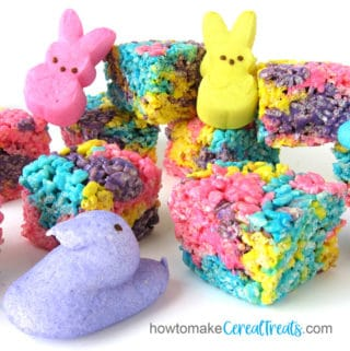 Pink, blue, purple, and yellow Peeps are used to make Peeps Rice Krispie Treats for Easter.