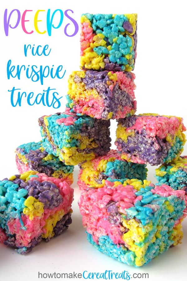 Multi-color Peeps Rice Krispie Treats stacked up.