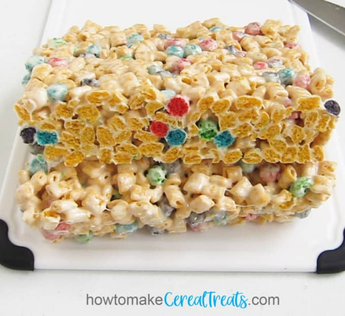 Cut Captain Crunch rice krispie treats into squares.