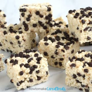 Rice Krispie treats sprinkled with mini chocolate chips
