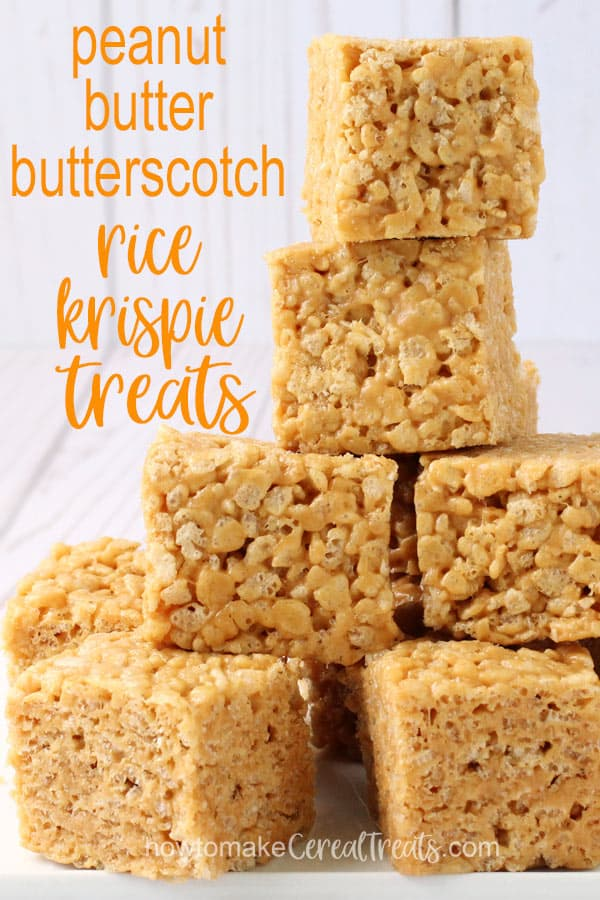 peanut butter butterscotch rice krispie treats stacked on top of each other