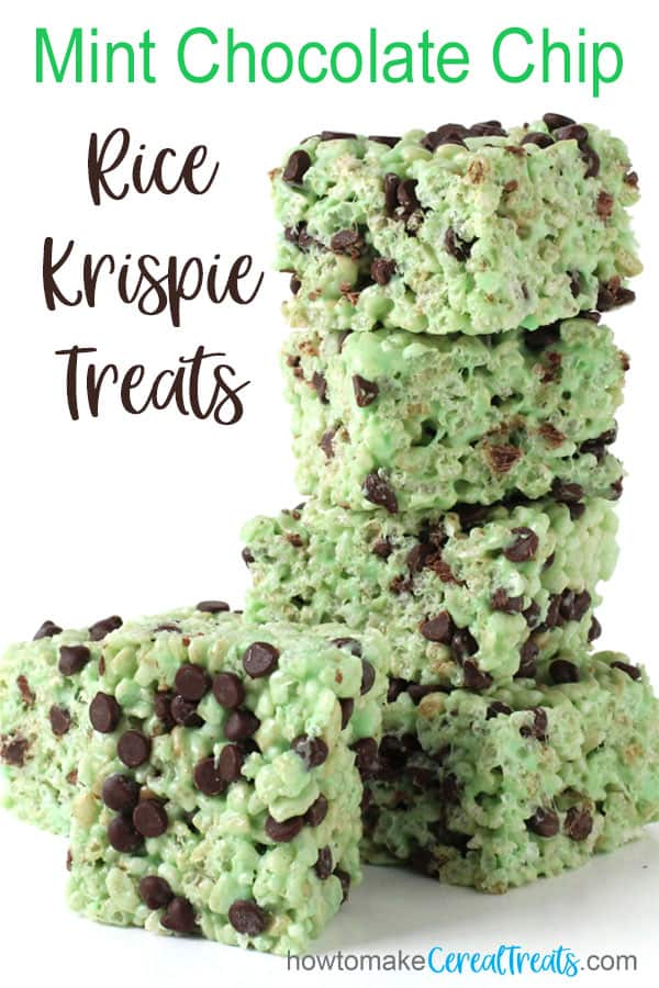 Mint Chocolate Chips Rice Krispie Treats