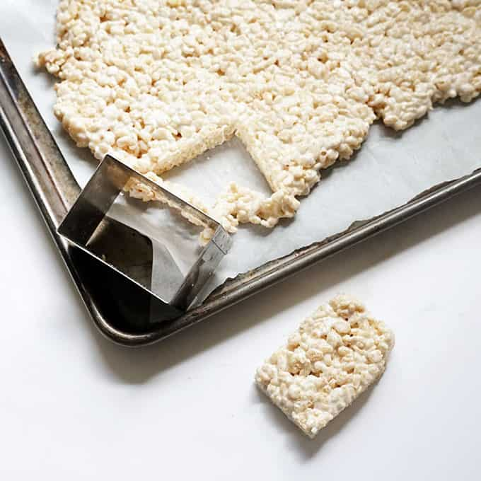 cutting rectangles from rice krispie treats