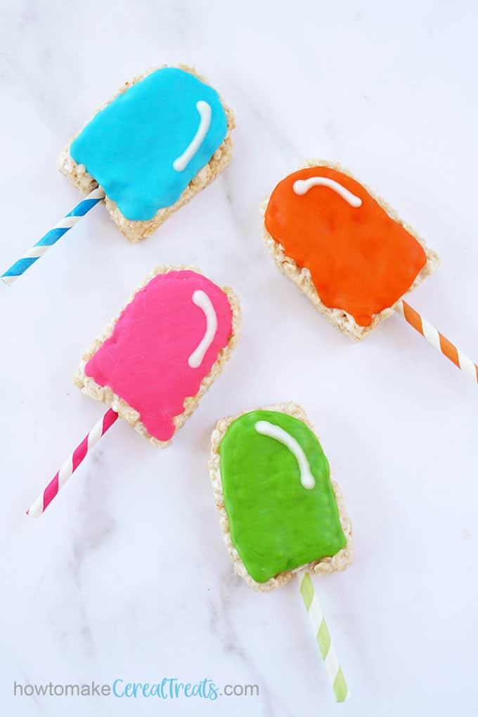 overhead image of popsicle rice krispie treats