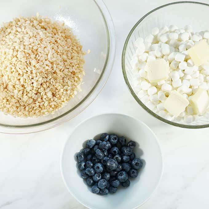 ingredients for blueberry Rice Krispie Treats