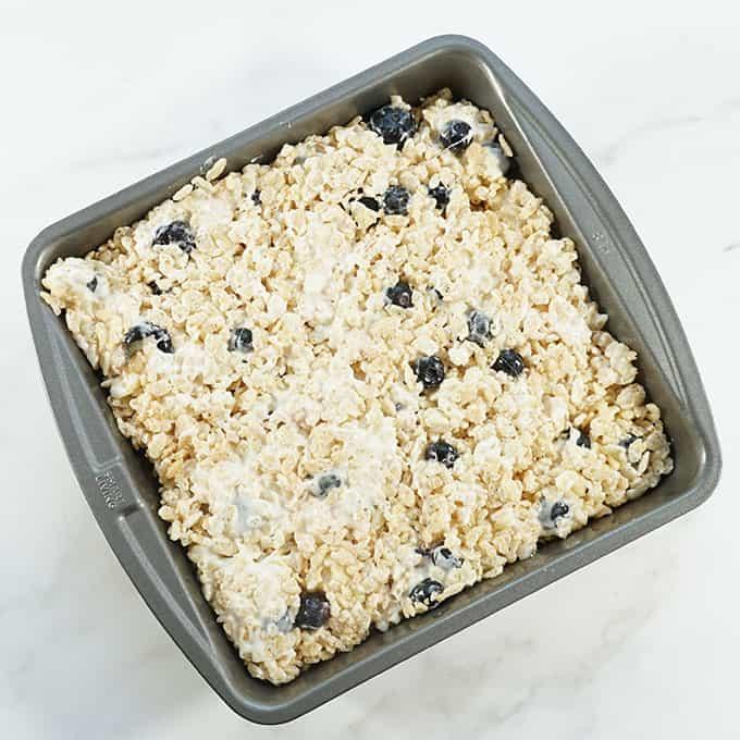 blueberry Rice Krispie Treats in baking pan