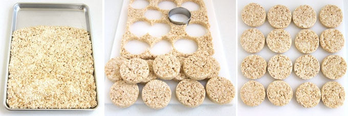 Cut circles out of the sheet of rice krispie treats using a round cookie cutter.