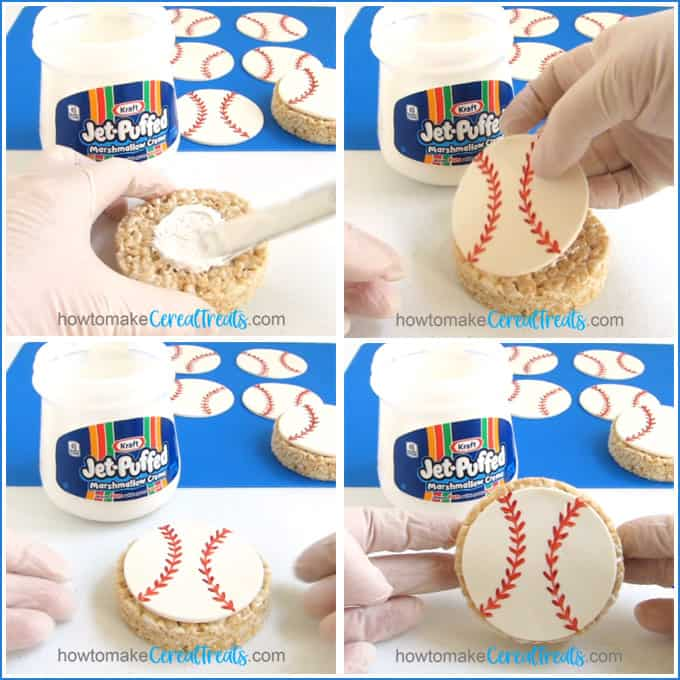 spread a thin layer of marshmallow fluff in the center of a round rice krispie treat then top it with a modeling chocolate baseball