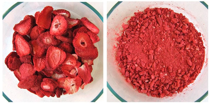bowl filled with whole freeze-dried strawberries and another bowl filled with crushed crumbs