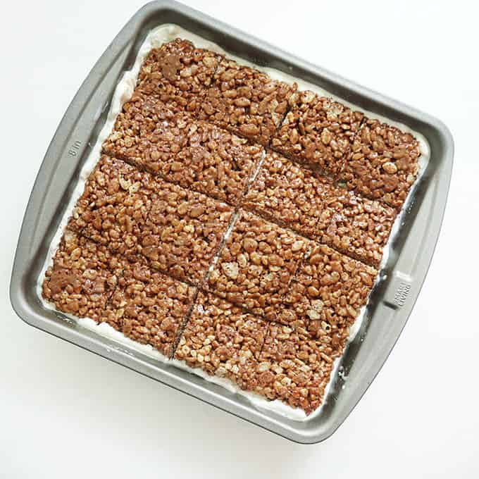 ice cream sandwich Rice Krispie treats in baking pan