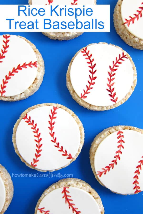 round Rice Krispie Treat baseballs are decorated with white modeling chocolate and a food coloring marker