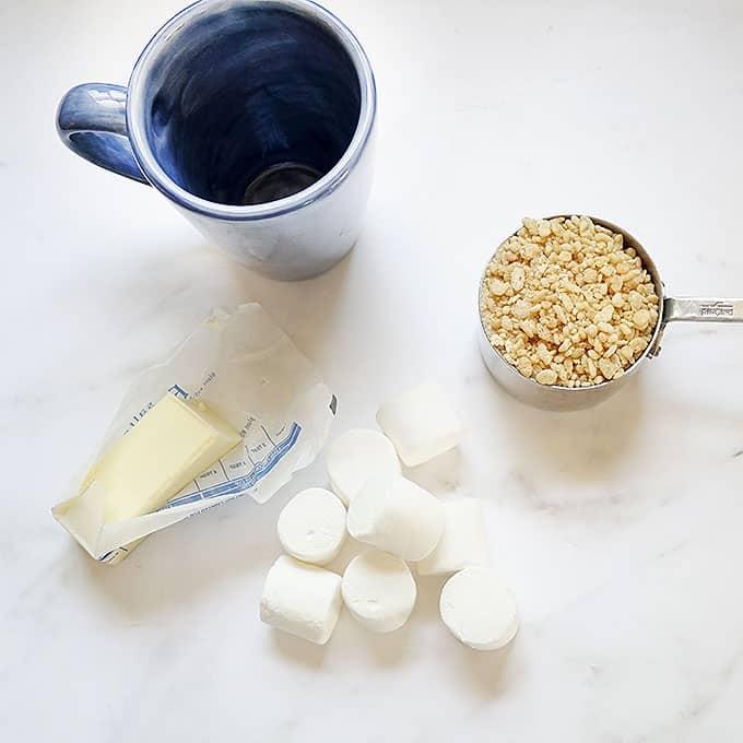 ingredients to make rice krispie treat in a mug