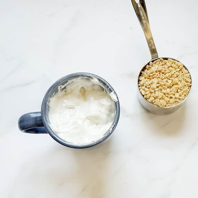 making rice krispie treat in a mug