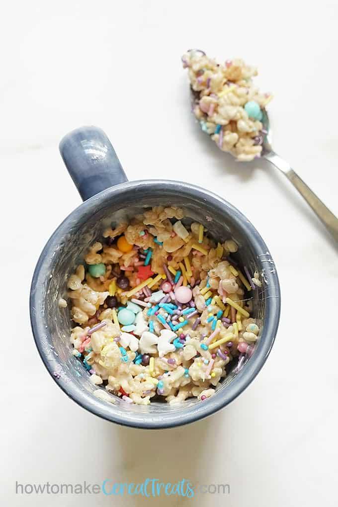rice krispie treat in a mug with sprinkles