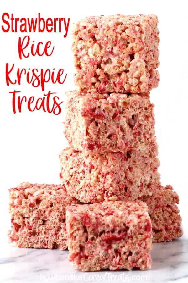 strawberry rice krispie treats speckled with freeze-dried strawberries