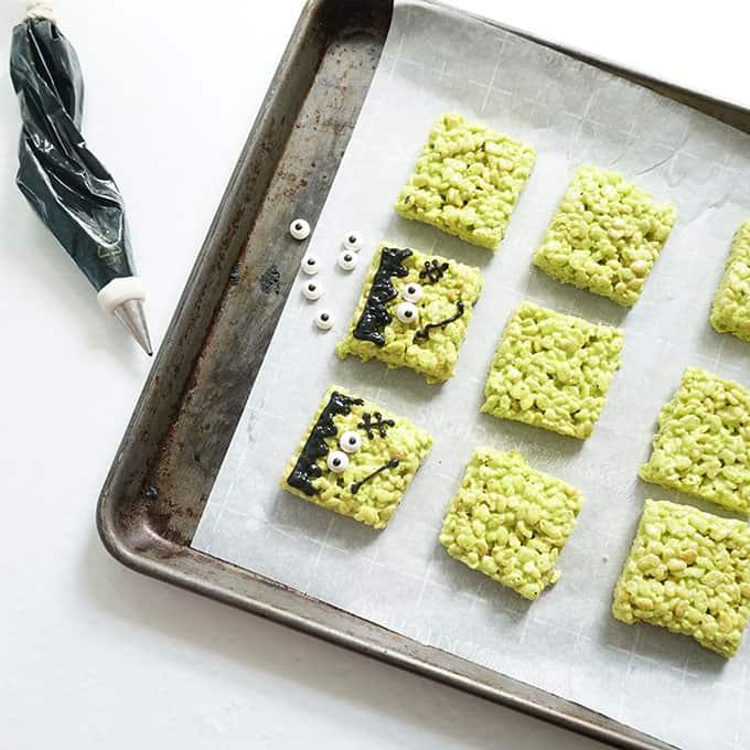 decorating Frankenstein Rice Krispie Treats