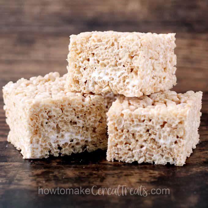 marshmallow fluff rice kripsie treats with marshmallow cream showing inside the treats