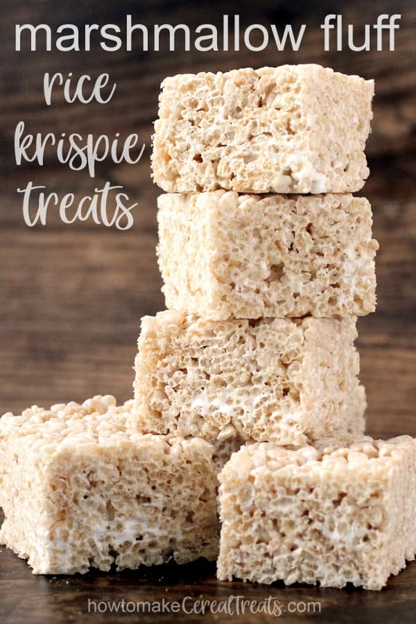 stack of square rice krispie treats made using marshmallow fluff