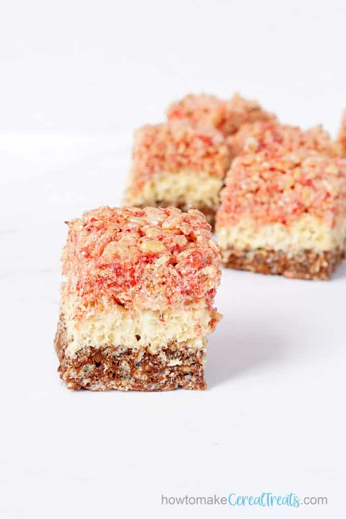 stacked neapolitan rice krispie treats