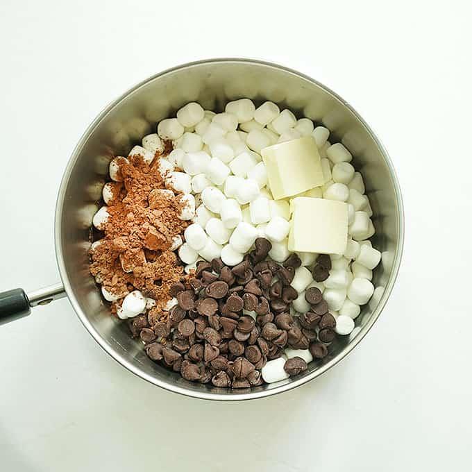 ingredients for neapolitan rice krispie treats in saucepan