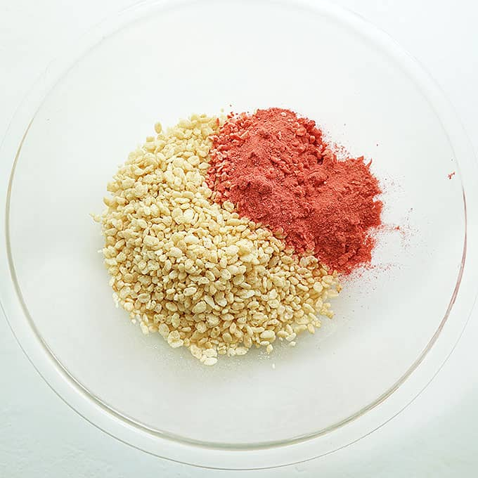 rice krispies and dried strawberries for neapolitan rice krispie treats