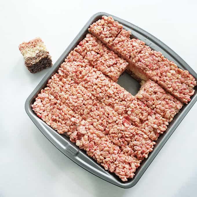 neapolitan rice krispie treats in baking pan
