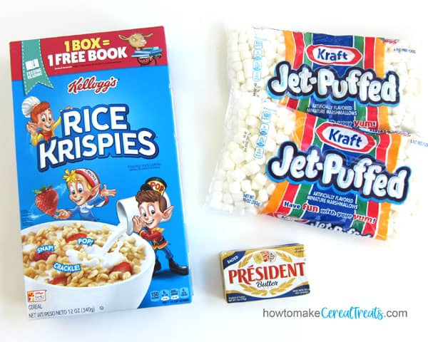 Rice Krispies Cereal, Jet-Puffed Marshmallows, and President Salted Butter