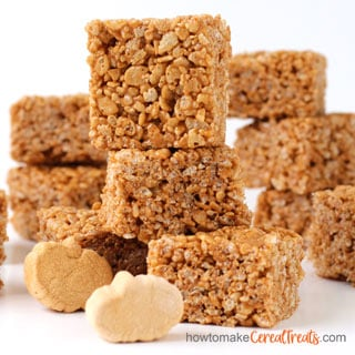 Pumpkin Rice Krispie Treats made using Pumpkin Spice Marshmallows