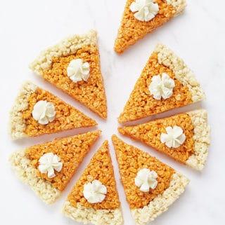 pumpkin pie Rice Krispie treats for Thanksgiving