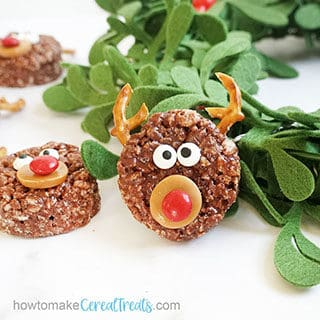 Chocolate REINDEER RICE KRISPIE TREATS are a cute, easy Christmas fun food idea. Kids can help decorate this no-bake dessert.