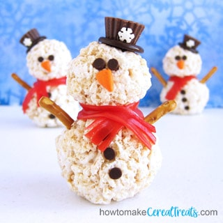 rice krispie treat snowmen featured image