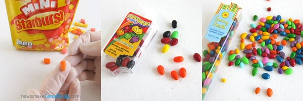 shape candy carrot noses using Starburst Fruit Chews or use orange Airhead breath mints, or Orange chocolate sunflower seeds