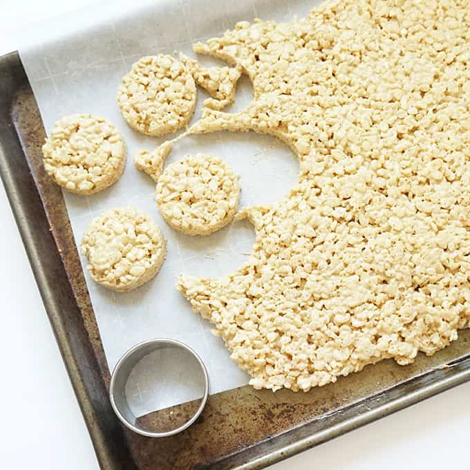 cutting circles to make gingerbread Rice Krispie treats