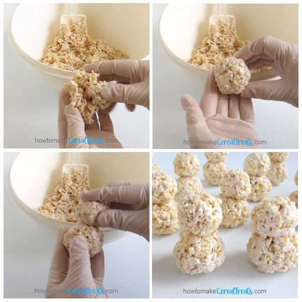 shape one large and one small ball of the marshmallow cereal mixture then attach them to create your 3-D snowman