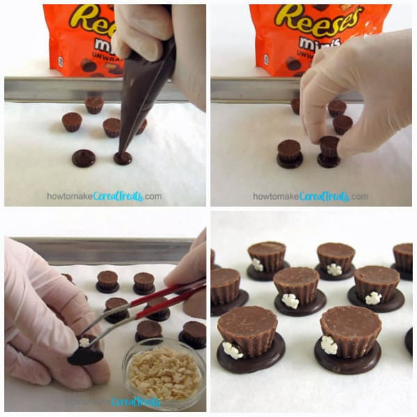 pipe a circle of chocolate and attach a mini Reese's Cup then attach a snowflake sprinkle to the chocolate cup