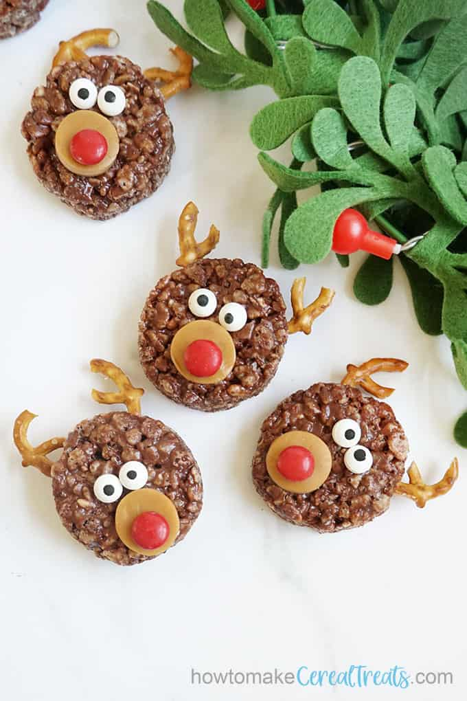 chocolate reindeer Rice Krispie treats for Christmas