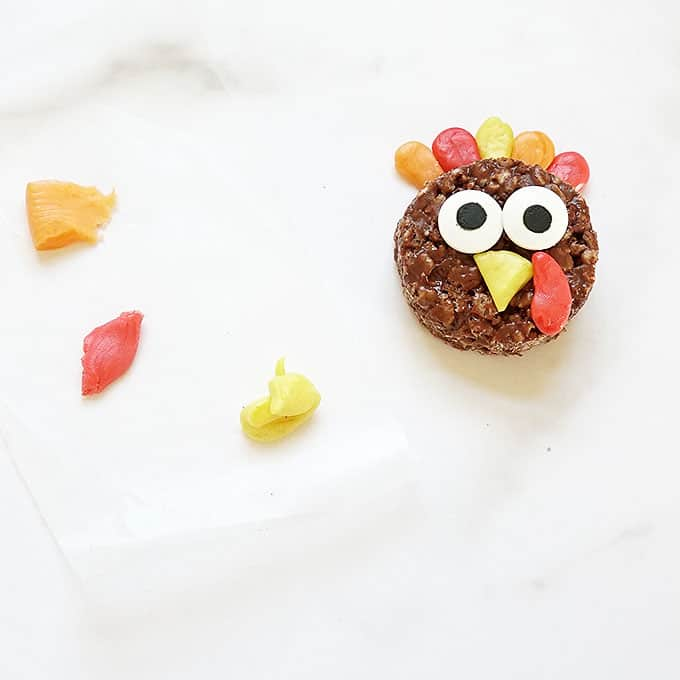 decorating turkey Rice Krispie treats for Thanksgiving
