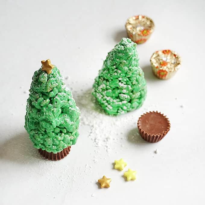 assembling Christmas tree Rice Krispie treats