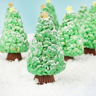 snowy Christmas tree Rice Krispie treatss