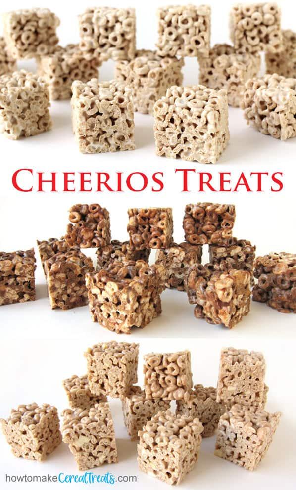Plain Cheerios Treats, marshmallow chocolate peanut butter Cheerios treats, and apple cinnamon Cheerios bars.