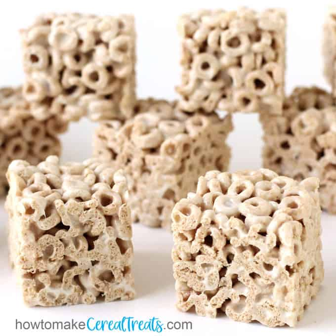 Marshmallow Cheerios Bars made with plain Cheerios cereal, marshmallows, and butter.