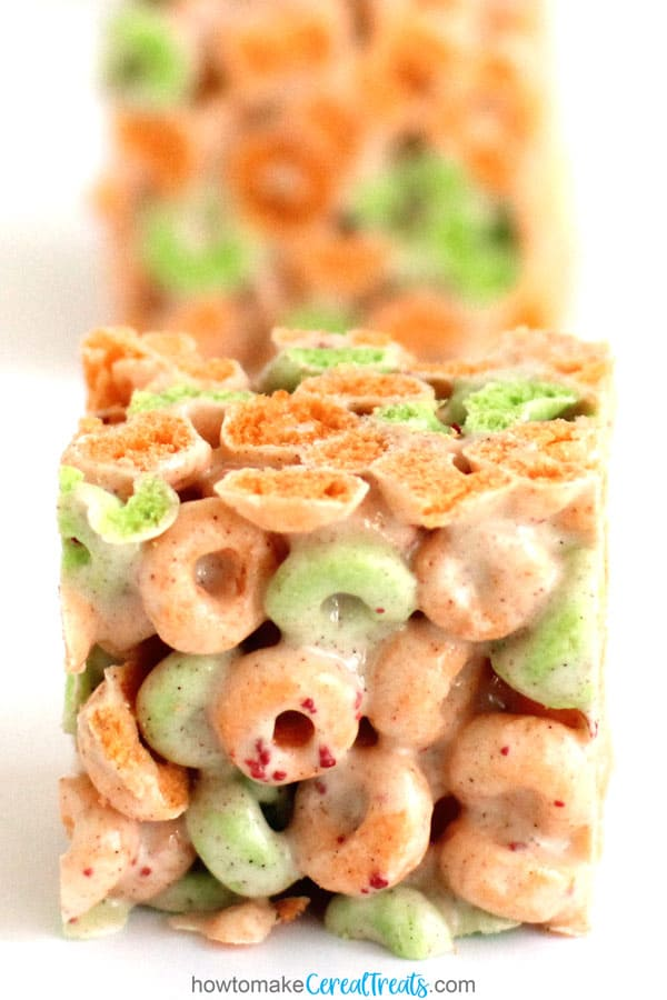Apple Jacks Cereal Bars made with marshmallows, butter, and cinnamon.