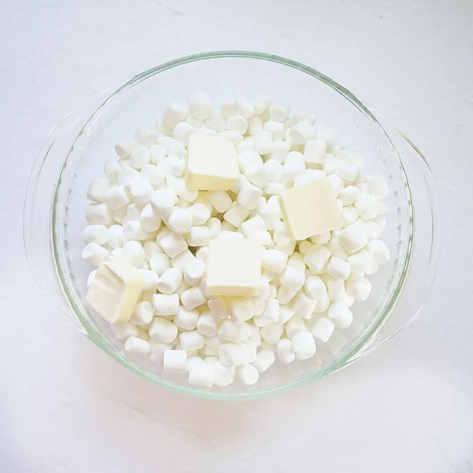 marshmallows and butter for Valentine's Day Rice Krispie Treats