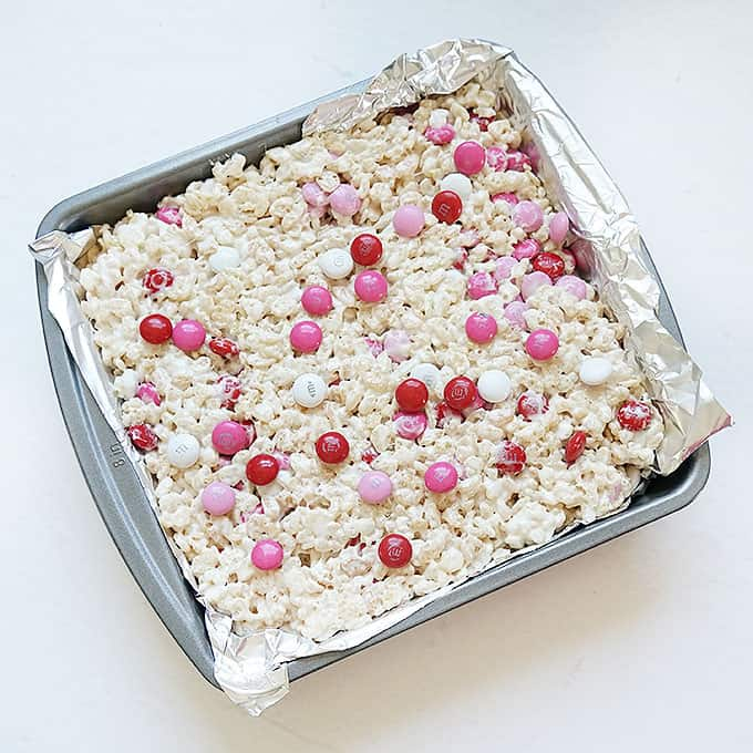 Valentine's Day Rice Krispie Treats in baking tray