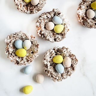 easter cocoa krispies nests with candy eggs