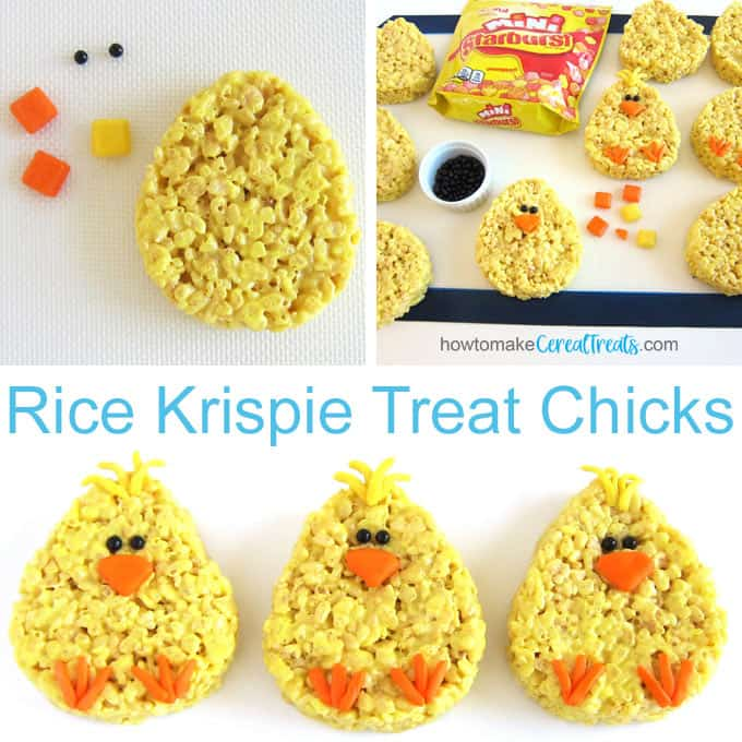 Decorate yellow egg-shaped Rice Krispie Treats with black sugar pearl eyes, and Starburst Fruit Chews feet, beaks, and feathers to look like baby chicks.