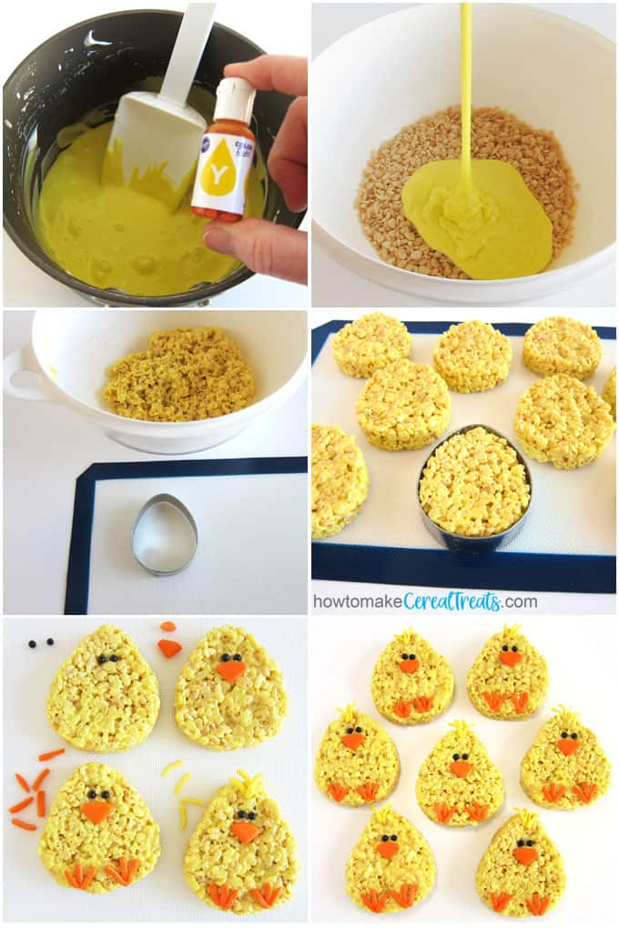 Color melted butter and marshmallows yellow then stir in Rice Krispies Cereal. Fill egg-shaped cookie cutters then decorate the treats with beaks, feat, feathers, and eyes to look like baby chicks.