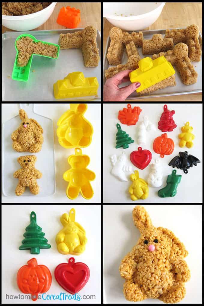 Rice Krispie Treats made using castle beach toys, bear & bunny molds, or vintage rice crispy molds.